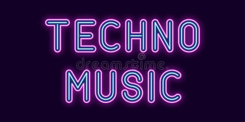 Techno音乐的霓虹题字 向量 皇族释放例证