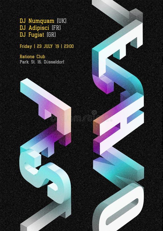 Techno音乐费斯特传染媒介黑暗的海报 电子DJ音乐盖子 皇族释放例证