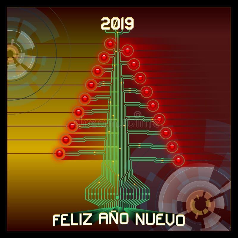 Techno счастливое 2019 Рождественская елка Technologic Иллюстрация вектора приветствий 2019 Новых Годов Испанская версия иллюстрация штока