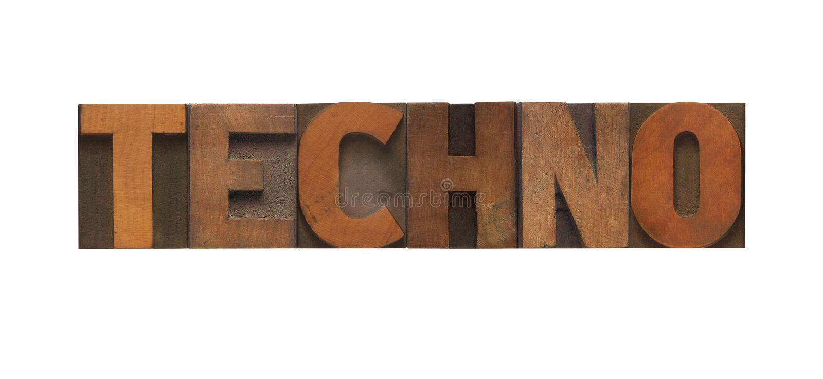 Techno. The word techno in old letterpress wood type royalty free stock photography
