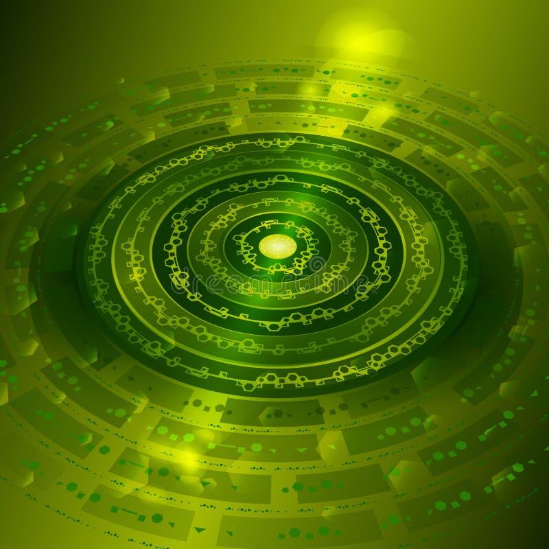 Techno bakgrund med metallkugghjul i grön färg royaltyfri illustrationer