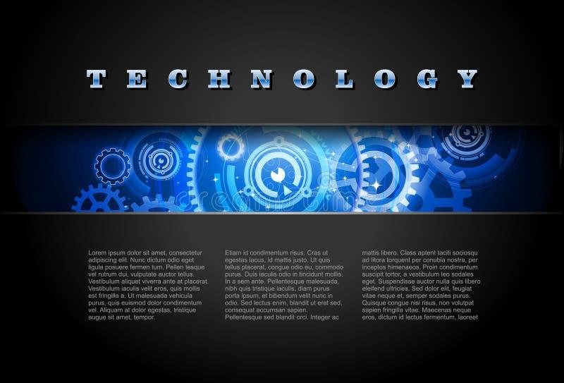0482 Techno bakgrundsblått stock illustrationer