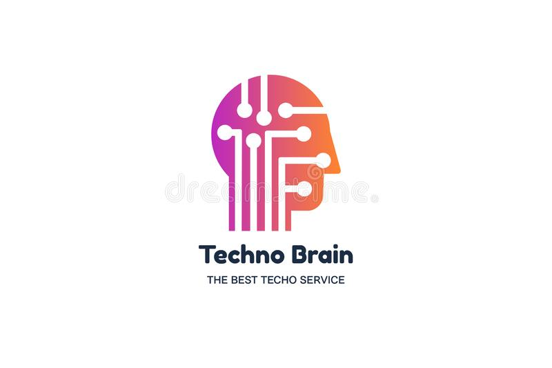 Techno brain negative space logotype concept. IT company, AI technology conference banner template vector illustration