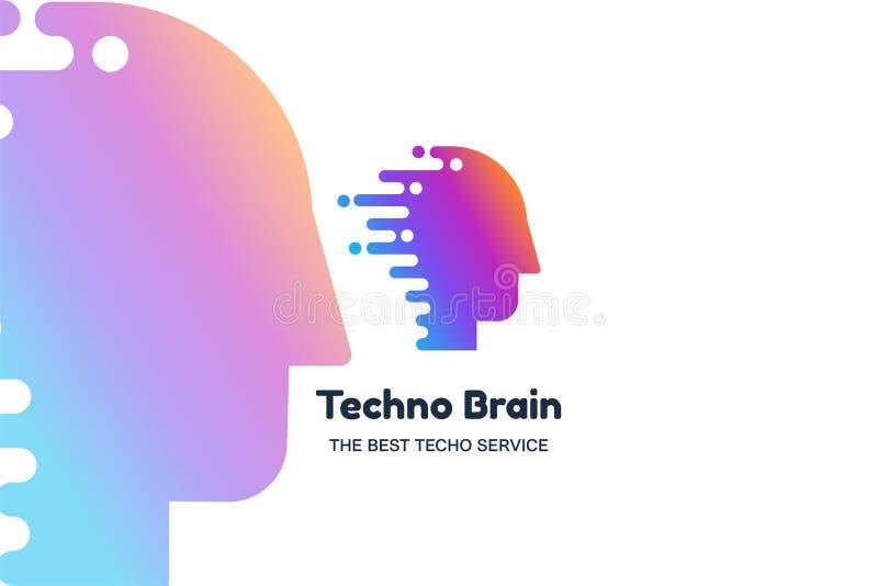 Techno brain vector banner template. Corporate identity. IT company minimalistic logotype concept vector illustration