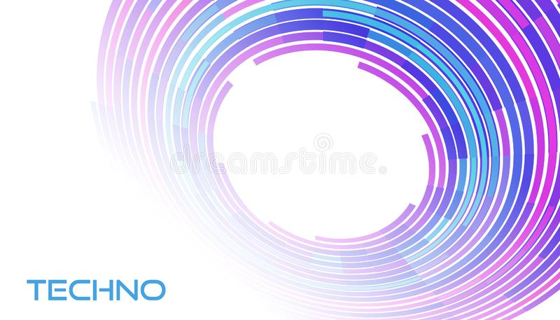 Techno card. Template with colorful tech circle on white. Vector graphics vector illustration