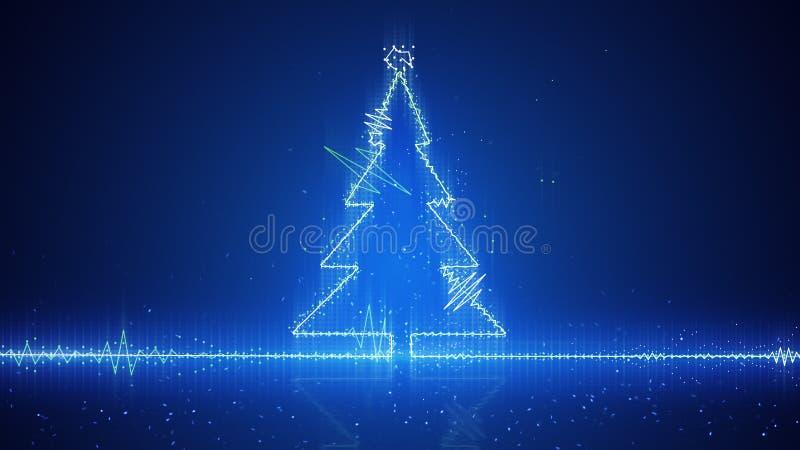 Techno christmas tree electric wave vector illustration
