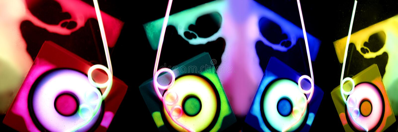 Techno color. Abstract wide-angle shot with phosphorescent colors and techno shapes like CDs royalty free stock photos