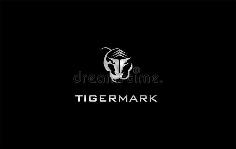 Techno de plata de la marca de la cabeza del tigre y sensación futurista para la plantilla del logotipo fotografía de archivo