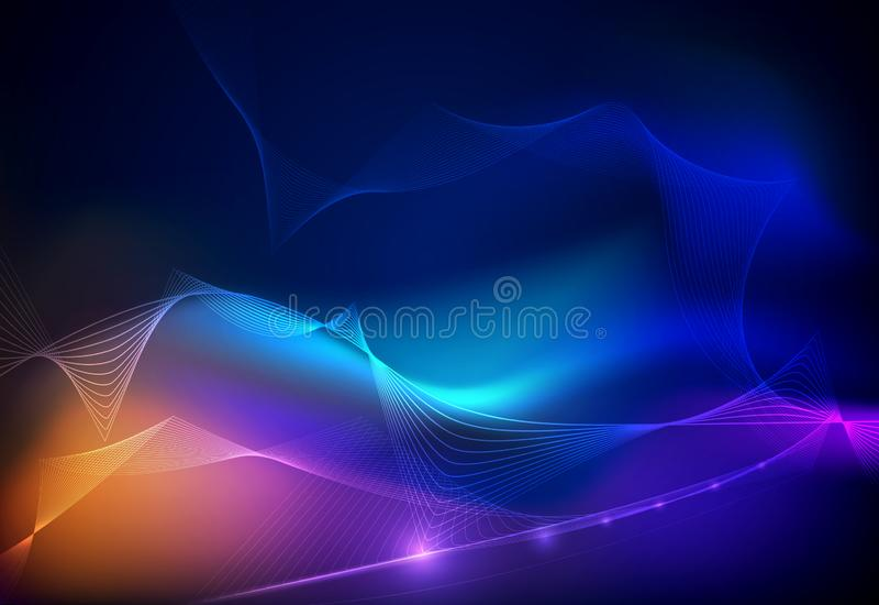 Techno de uma comunicação do projeto do vetor no fundo azul Tecnologia digital futurista ilustração do vetor