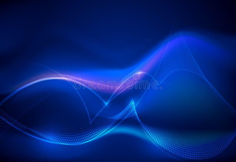 Techno de uma comunicação do projeto do vetor no fundo azul Tecnologia digital futurista para a Web ou o fundo da bandeira ilustração royalty free