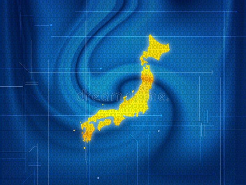 Techno do mapa de Japão ilustração royalty free