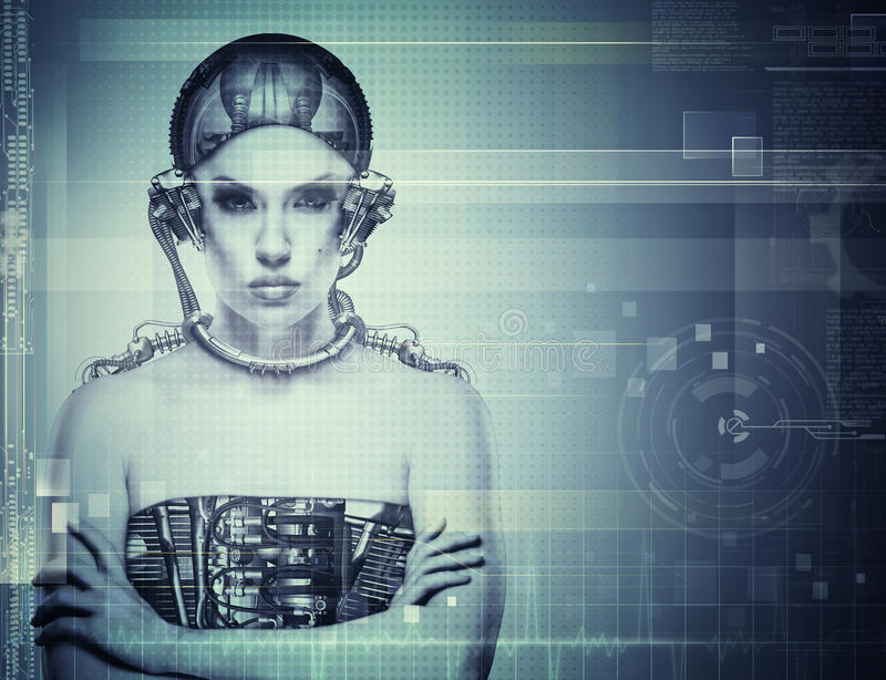 Techno female portrait. Science and technology concept royalty free stock photo