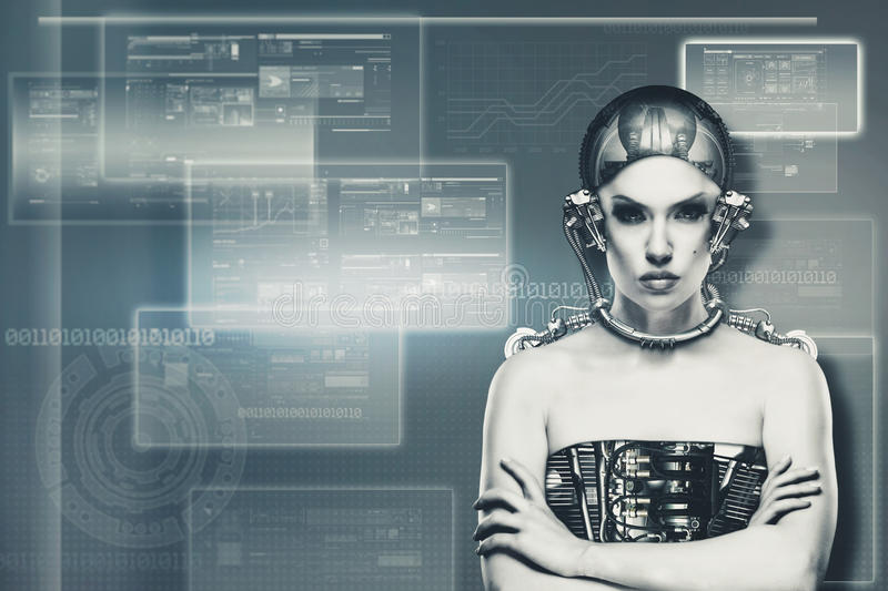 Techno female portrait. Science and technology concept stock photo