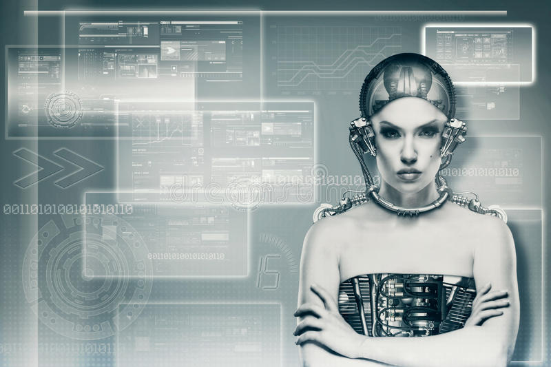 Techno female portrait. Science and technology concept royalty free stock photography
