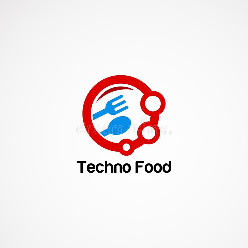 Techno food logo vector designs with circle spoon and fork.  stock illustration