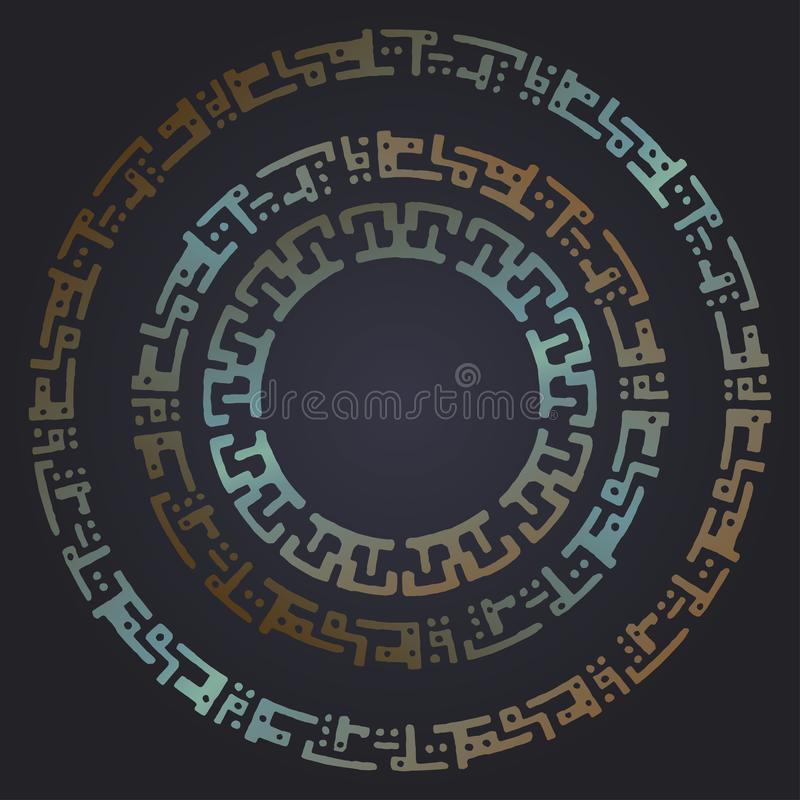 Techno futuristic round frames. Rusty metal backdrop. Vector background stock illustration