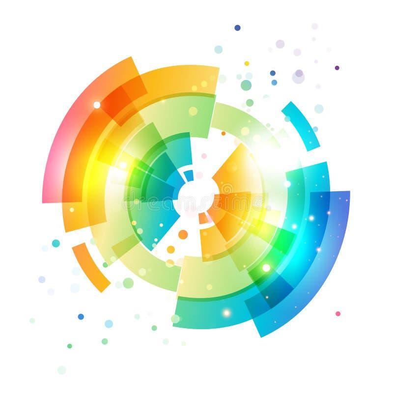 Techno geometrisk vektorcirkel på vit vektor illustrationer