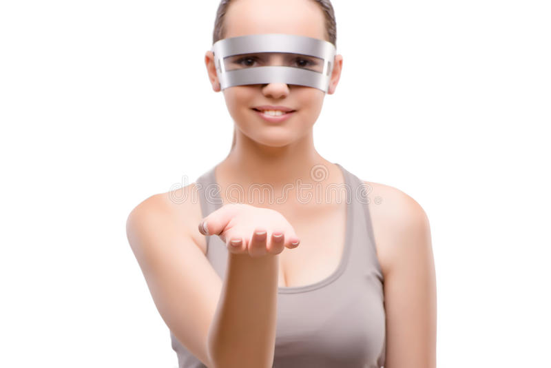 The techno girl holding gands isolated on white. Techno girl holding gands isolated on white royalty free stock photos