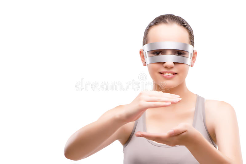 The techno girl holding gands isolated on white. Techno girl holding gands isolated on white stock photos