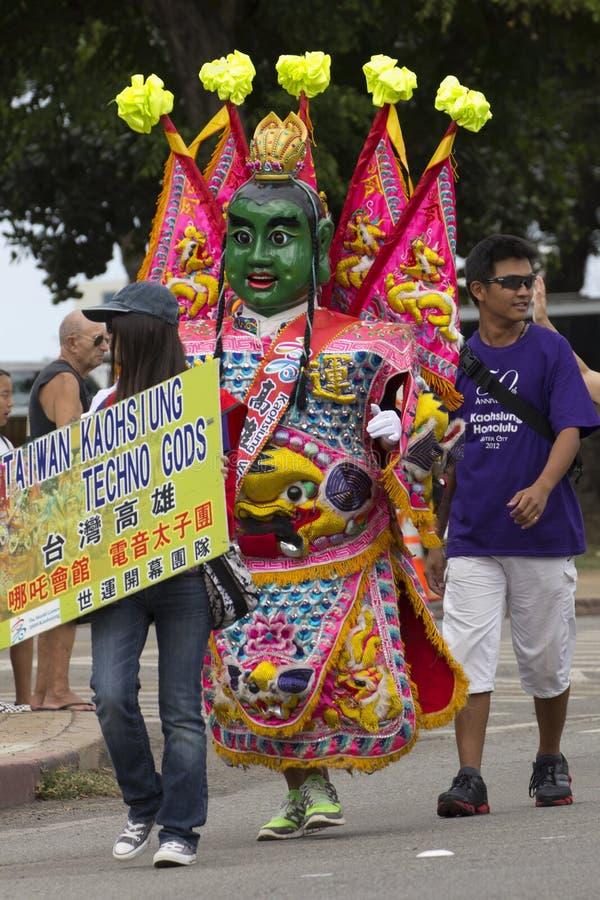 Techno God. Event: 66th Aloha Festivals Floral Parade, 22.IX.12 Location: Ala Moana Beach Park, Honolulu, O'ahu, Hawai'i, USA Subject: Taiwwan-Kaohsiung Techno royalty free stock photography