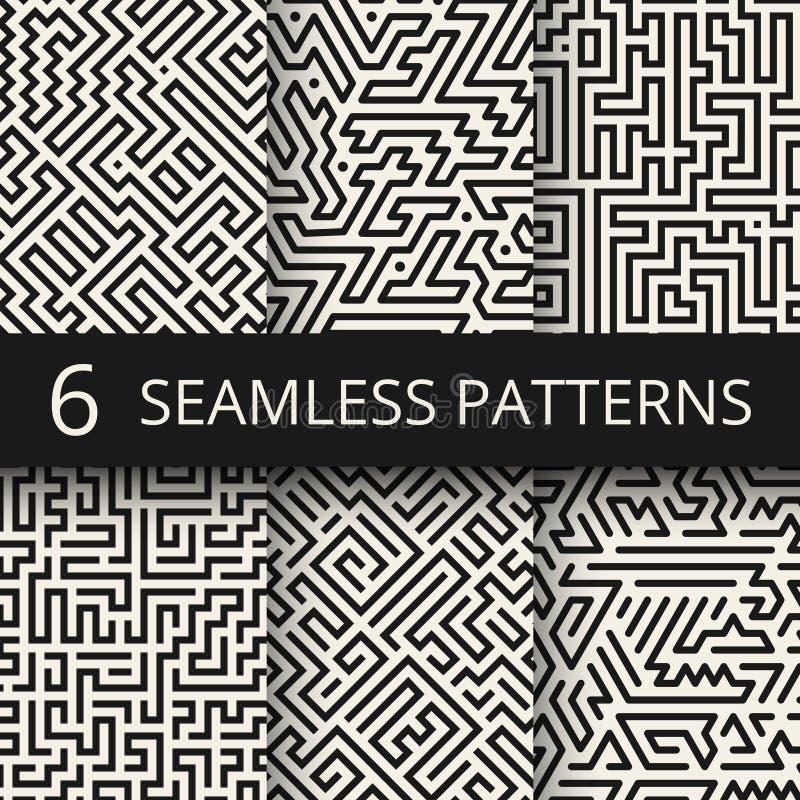 Techno grafiki linii bezszwowe tekstury Nowożytni lampas mody projekta tła royalty ilustracja