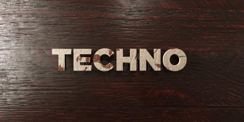 Techno - grungy trärubrik på lönn - 3D framförd fri materielbild för royalty vektor illustrationer