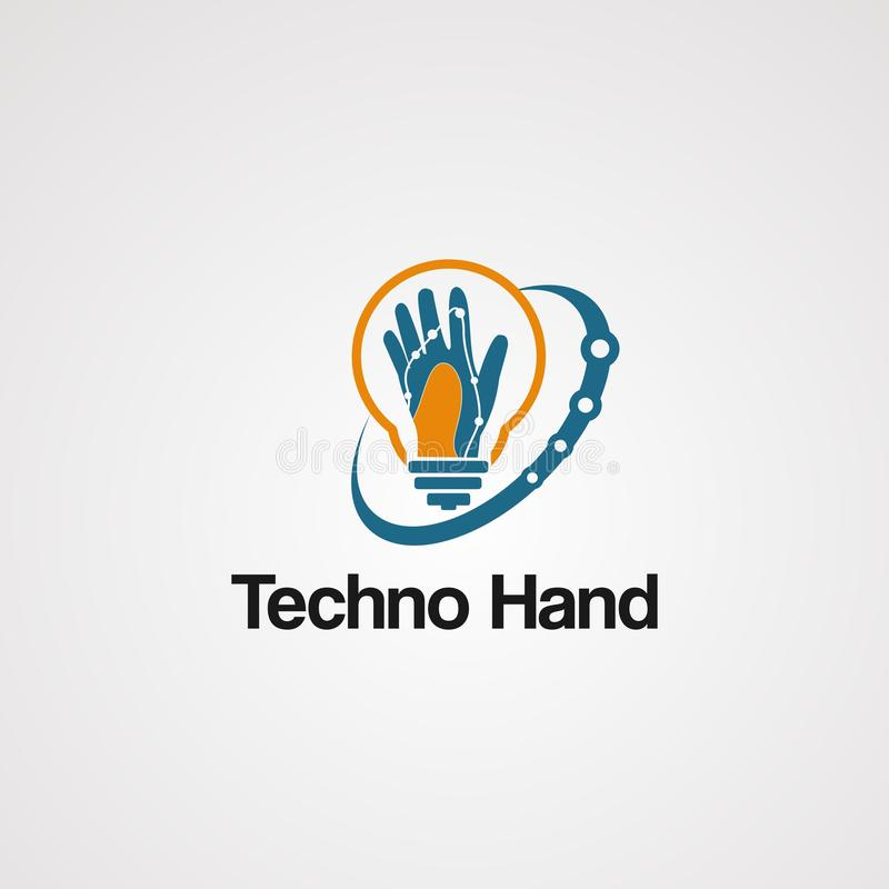 Techno hand logo vector with swoosh and bulb concept, element, icon, and template for company stock illustration