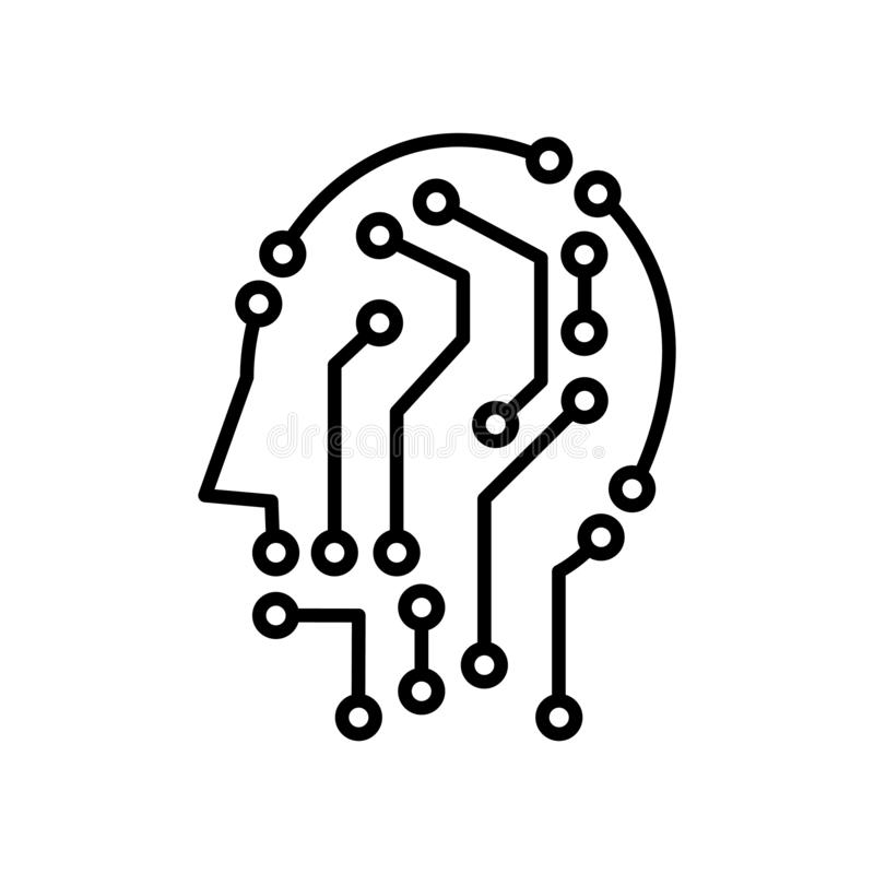 Techno head icon, vector illustration. Isolated on white stock illustration