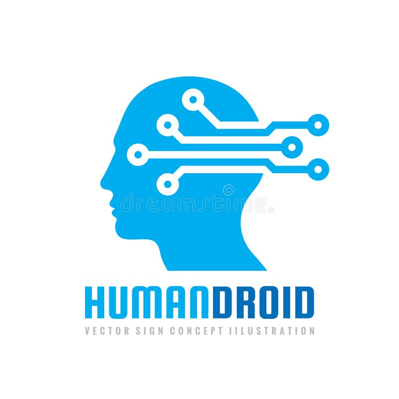 Techno human droid head vector logo concept illustration. Creative idea sign. Learning icon. People computer chip. Innovation. stock illustration