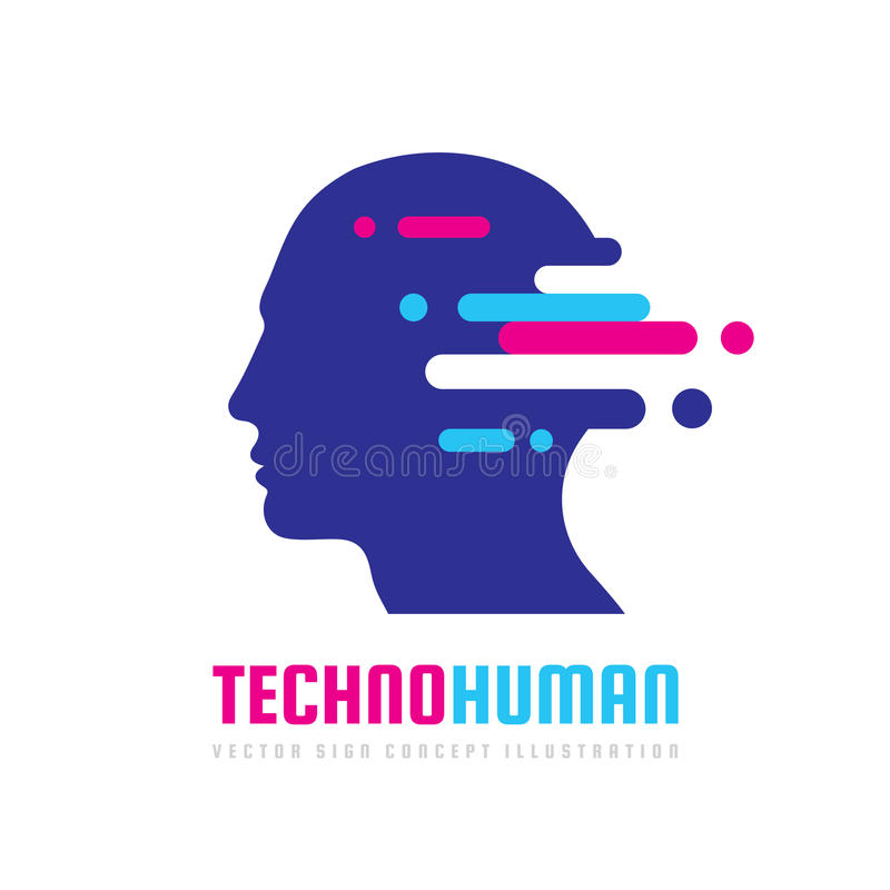 Techno human head vector logo concept illustration. Creative idea sign. Learning icon. People computer chip. Innovation technology royalty free illustration