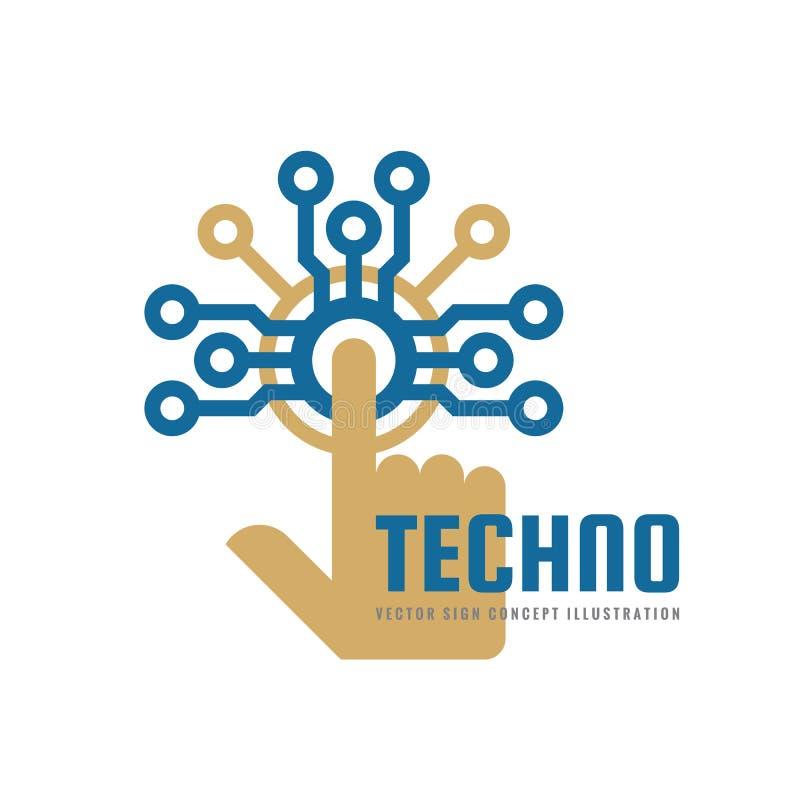 Techno - illustration för begrepp för vektorlogomall Elektronisk chip för mänsklig handhandlagdator Modern teknologidesignbestånd royaltyfri illustrationer
