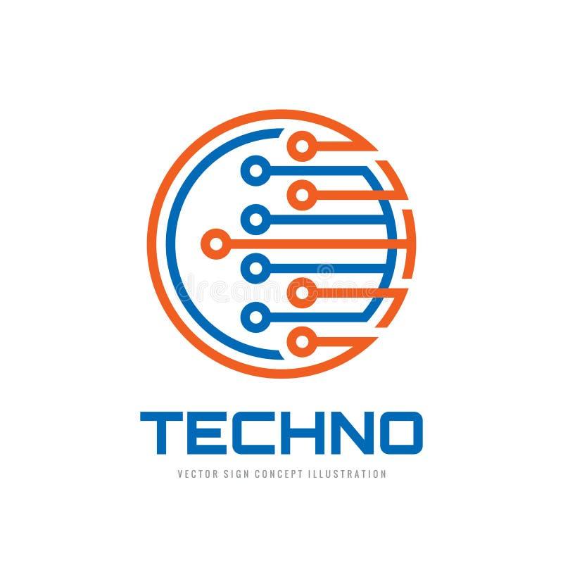 Techno - ilustração do conceito do molde do logotipo do vetor Sinal criativo da microplaqueta eletrônica do computador Símbolo mo ilustração royalty free