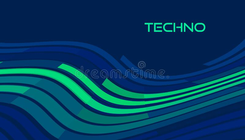 Techno image. Template with tech wave on dark blue. Vector graphics vector illustration