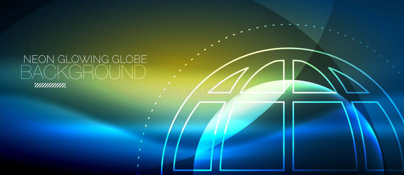 Techno jordklotbegrepp, neonglödplanet royaltyfri illustrationer