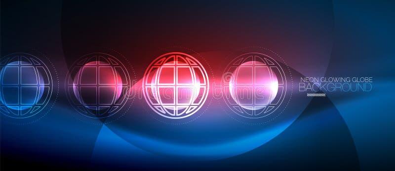 Techno jordklotbegrepp, neonglödplanet vektor illustrationer