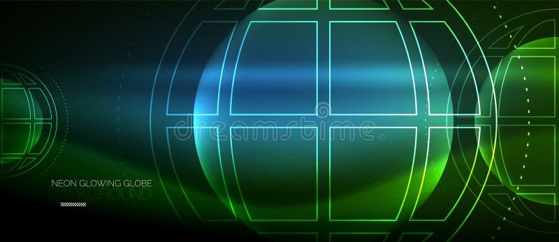 Techno jordklotbegrepp, neonglödplanet stock illustrationer