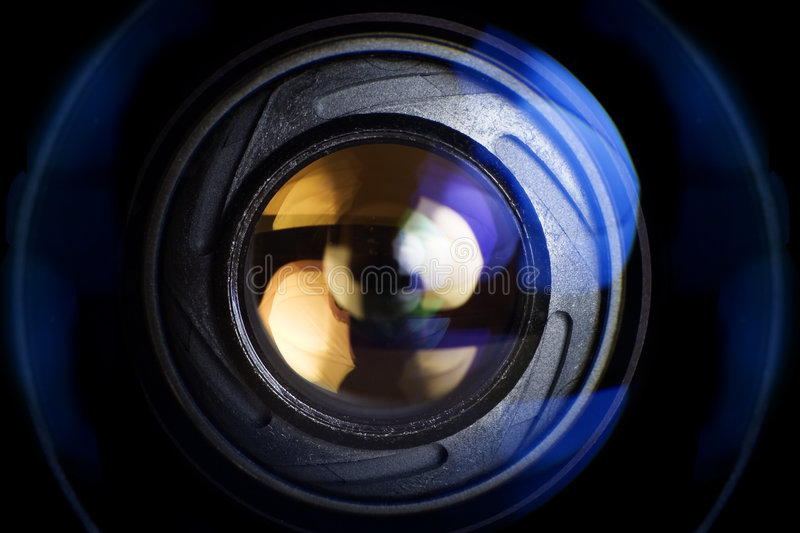 Techno Lens. Abstract techno background photography of a camera lens royalty free stock photography