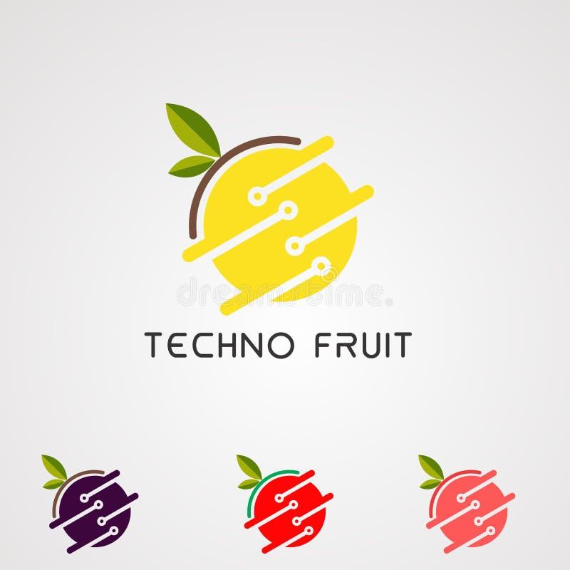 Techno logo owocowy wektor, ikona, element i szablon, royalty ilustracja