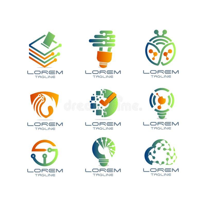 Techno Logo Set ilustración del vector