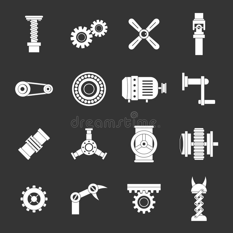 Free Techno Mechanisms Kit Icons Set Grey Vector Royalty Free Stock Image - 113915656