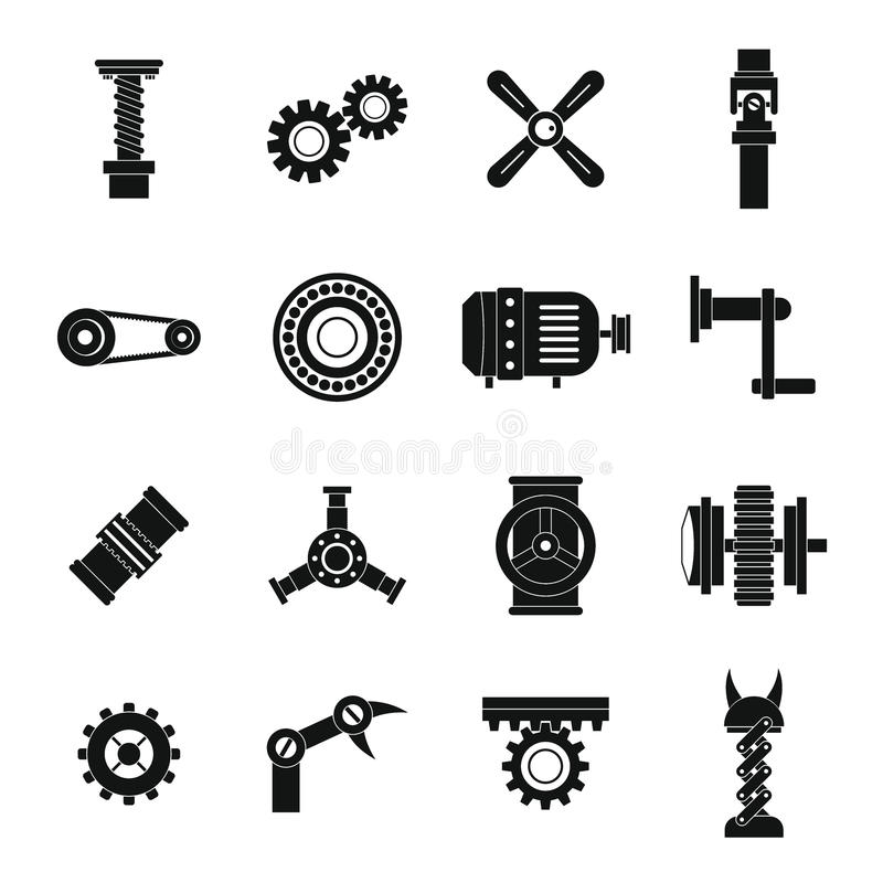 Techno mechanisms kit icons set, simple style. Techno mechanisms kit icons set. Simple illustration of 16 techno mechanisms kit vector icons for web stock illustration