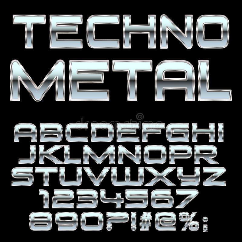 Techno-Metallartbuchstaben und -symbole lizenzfreie abbildung