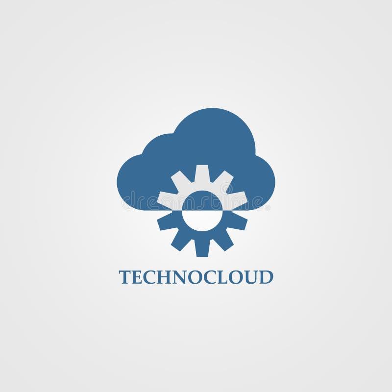Techno moln - idérik linje illustration för vektorlogomall stock illustrationer