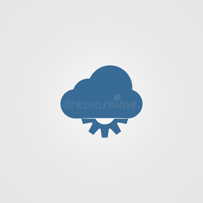 Techno moln - idérik linje illustration för vektorlogomall royaltyfri illustrationer