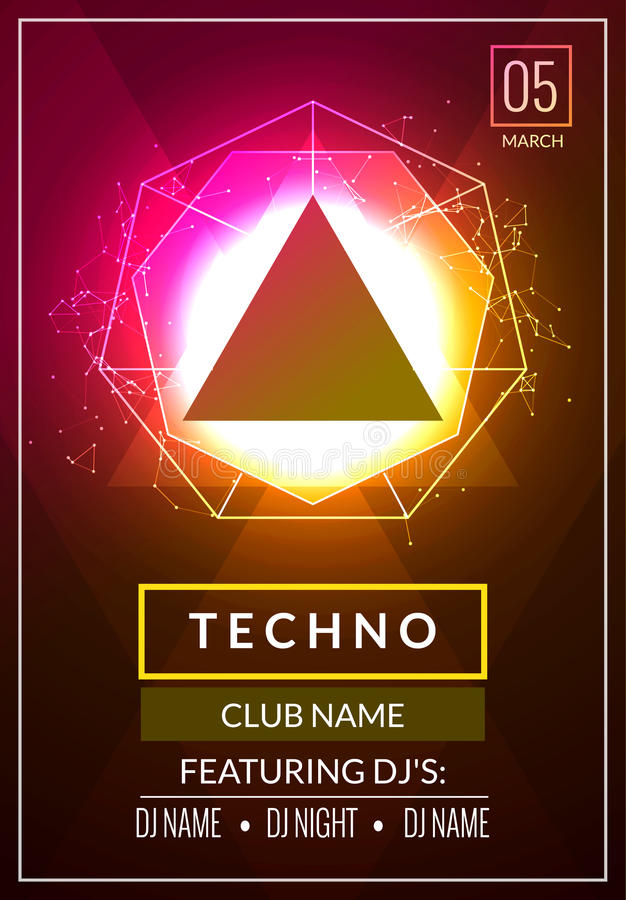Techno music poster. Electronic club deep music. Musical event disco trance sound. Night party invitation. DJ flyer poster stock illustration