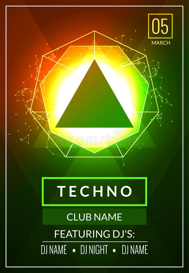 Techno music poster. Electronic club deep music. Musical event disco trance sound. Night party invitation. DJ flyer poster royalty free illustration