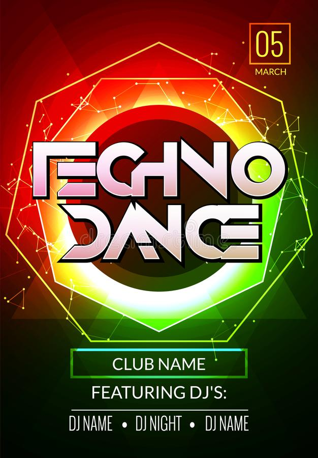 Techno music poster. Electronic club deep music. Musical event disco trance sound. Night party invitation. DJ flyer poster vector illustration