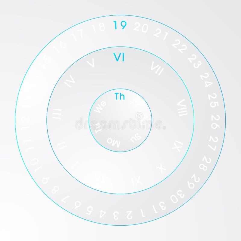 Techno neon universal circle calendar royalty free stock images