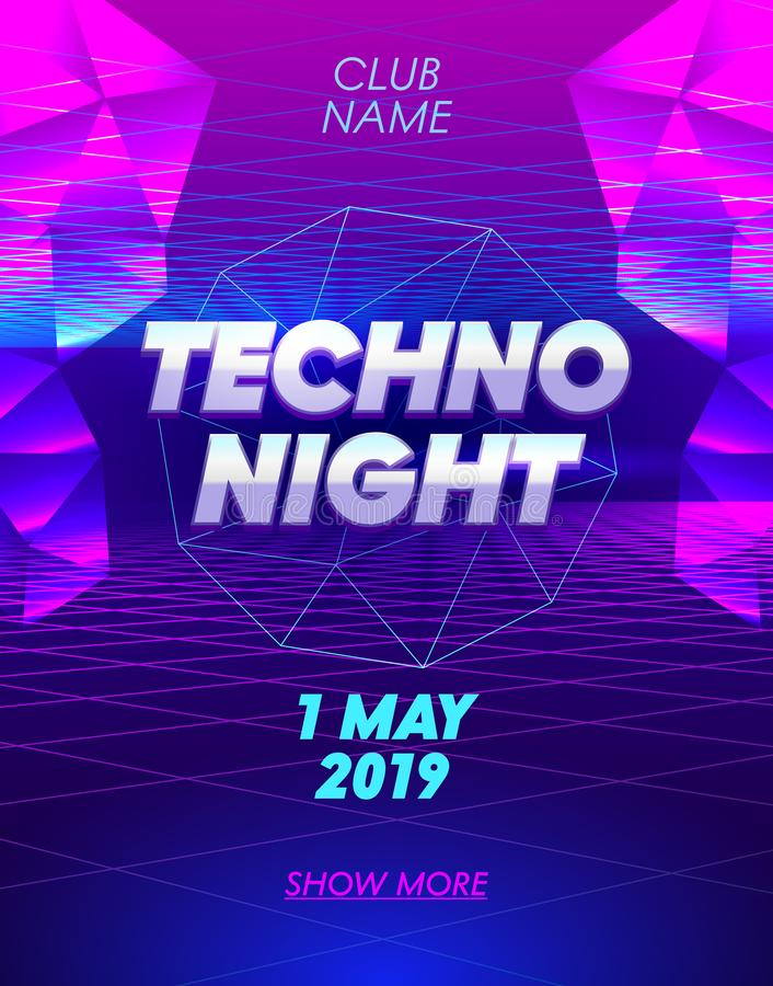 Techno Night Banner with Typography on Synthwave Neon Grid Futuristic Background with Low Poly Triangulars. Club Party Poster. Flyer Design. Social Media vector illustration
