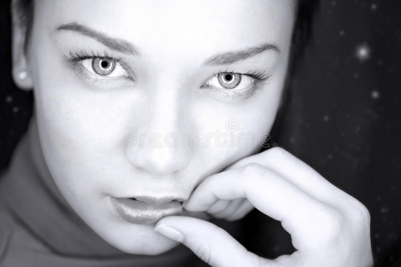 Techno portrait. Of beautiful woman stock photos